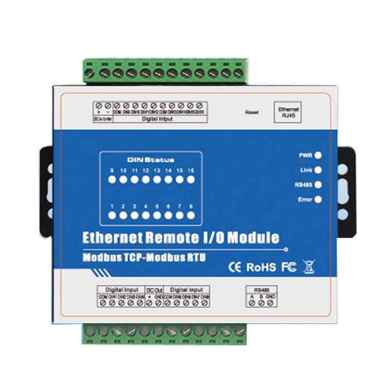 High speed pulse counter Ethernet Remote IO IOT Module Modbus TCP Data Acquisition Module 16 DIN M410T(16DI+RJ45+RS485)