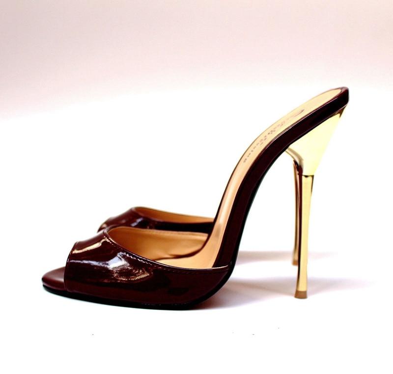 14cm Burgunderrutsche große, sexy Sandaletten mit hohen Absätzen 8,5 - 20