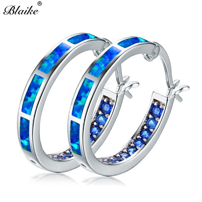Blaike Half Circle Blue Fire Opal Crystal Large Hoop Earrings Fashion Women  925 Sterling Silver Filled Birthstone Jewelry Gifts ca9b55d89b27