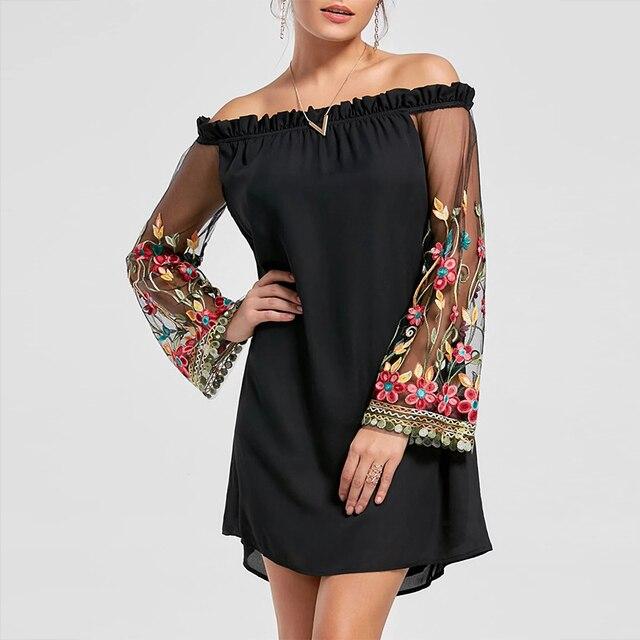 74c6297d07 Elegant Party Dresses 2018 Spring Summer Off Shoulder Floral Loose Dress  Embroidered Mesh Sleeve Dress