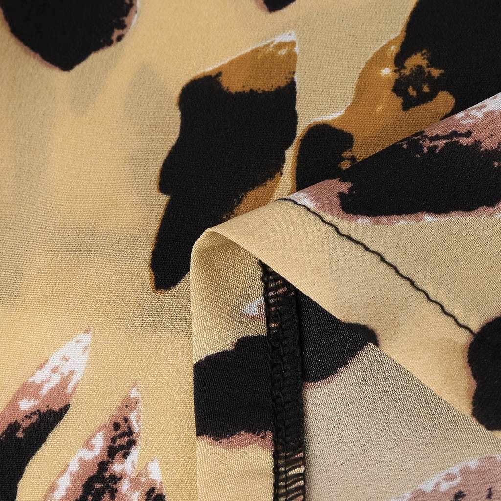 Womens Dames Zomer Luipaard Print Koude Schouder Open back jurk Blouse Tops (S-5XL) vestidos verao