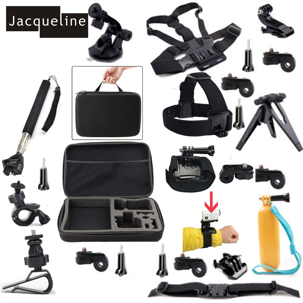 Jacqueline for Accessories Kit for Sony Action Cam HDR-AS15 AS200V AZ1 Mini AS20 AS30V AS100V FDR-X1000V Tripod mount zs s3 hi quality curved surface mount pack with 3m sticker adhesive for sony fdr x1000v hdr as200v hdr as20 hdr az1vra