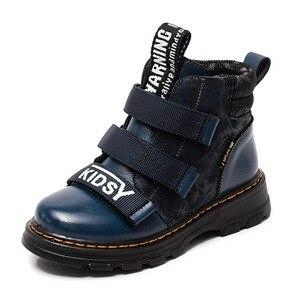 Image 2 - Winter Jungen Stiefel Kinder Schuhe Neue Junge Echtem Leder Mode Martin Stiefel Student Turnschuhe Plus Samt Warme Kinder Schnee Stiefel