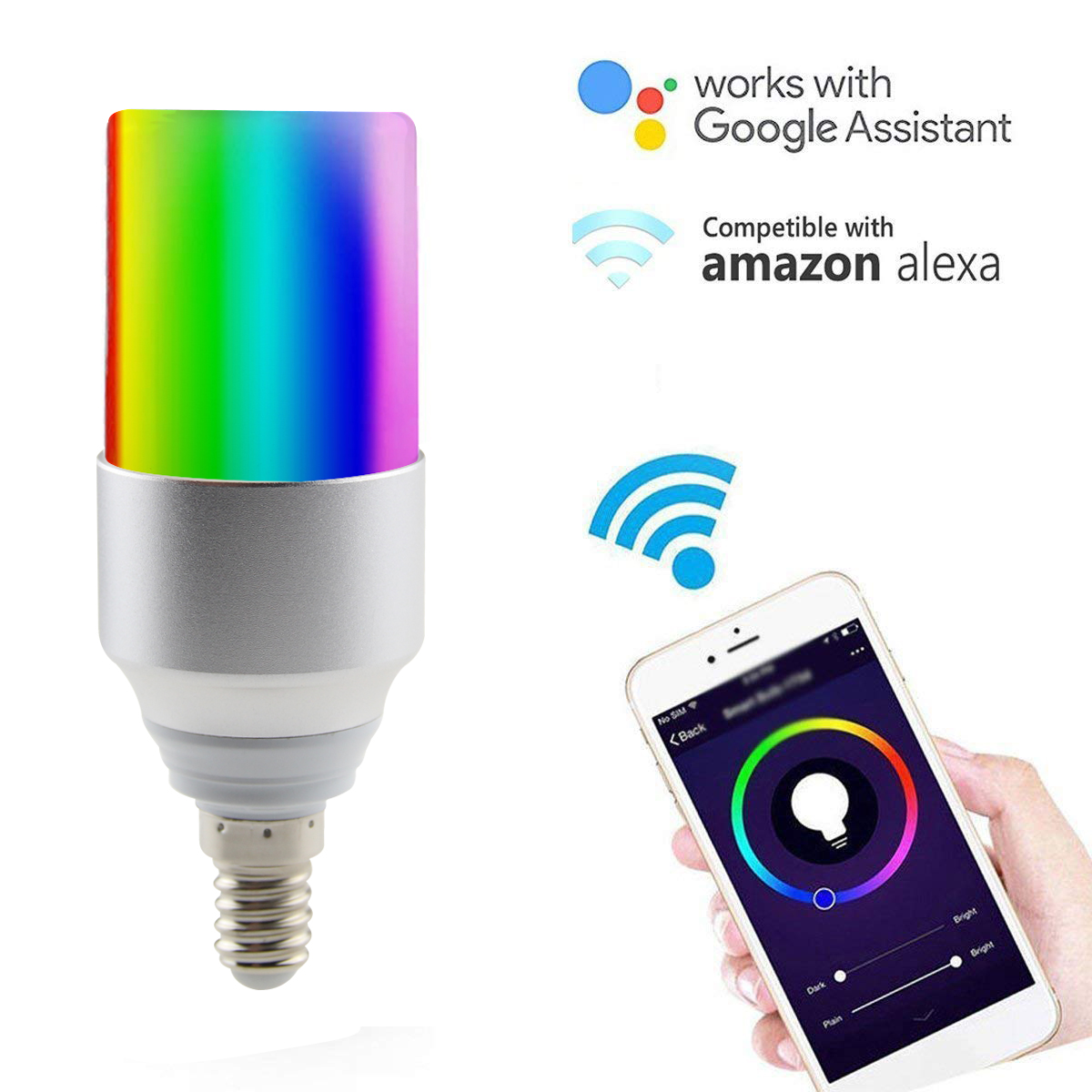 FRENKEVER E14 WiFi Smart LED Light Cylindrical Light Dimmable RGB Light Bulbs Smart Remote Control Work with Alexa Google Home mini wifi rgb strip light controller with music control and voice control compatible with google home