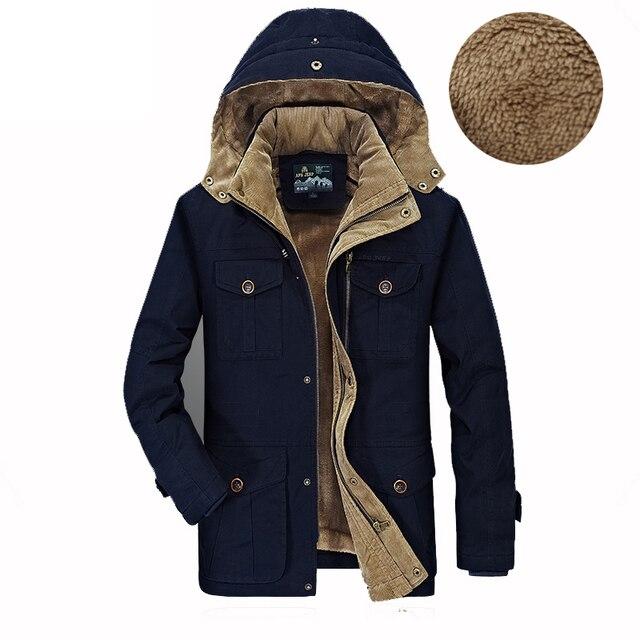 AFS JEEP Hiver Hommes Veste Marque polaire chaud Veste homme Manteau Coton  Parka Outwear Hommes Fourrure da211fd43f56