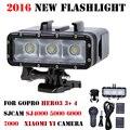 2016 nueva go pro lámpara linterna de buceo impermeable led de luz de flash de vídeo para gopro hero 4/3 +, sj4000 sjcam 6000 sj7000/xiaomi yi