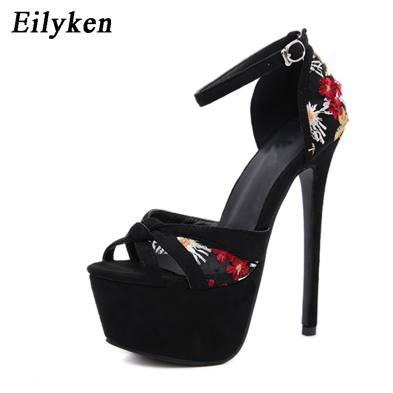 Eilyken Fashion Embroider Women Sandals Pumps Party Club shoes Open-toed Woman Sandals Thin Heels 16cm 2019 SummerEilyken Fashion Embroider Women Sandals Pumps Party Club shoes Open-toed Woman Sandals Thin Heels 16cm 2019 Summer