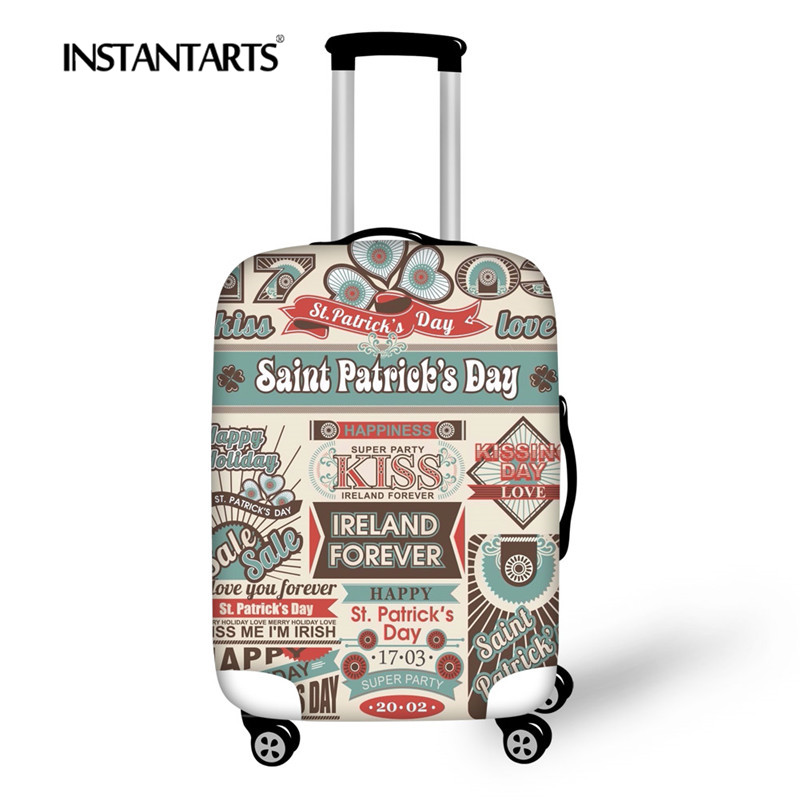 INSTANTARTS Travel Trolley Cover 3D Stamps Print Elastic Protective Luggage Cover Travel On Road Suitcase Thicken Cover 18-30