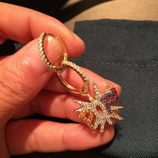 UMGODLY מותג אסימטרית ססגוניות מעוקב Zirconia כוכב מכתב פופ עגילי נשים אופנה רוק תכשיטי אפריל חדש הגעה