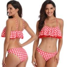 Fashion Hot New Plaid Folds with Lace Red Ruffled Straps Beach Wear Split Two Piece Flashing High Waist Bikini Swim for Women