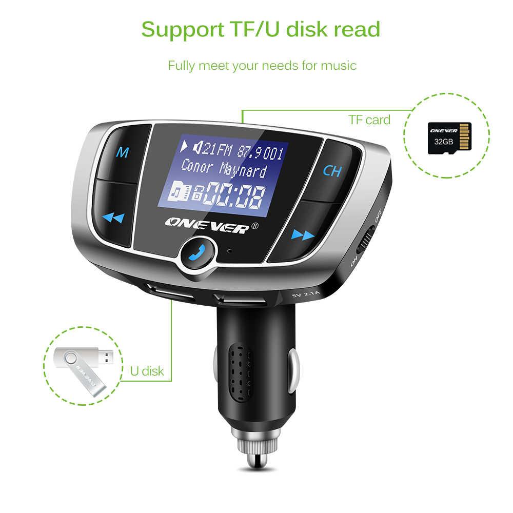 Onever Bluetooth FM Transmitter Đài Phát Thanh Không Dây Adapter FM Modulator Car Kit với 3.4A Kép USB Car Charger Vôn Kế DC 12-24 V