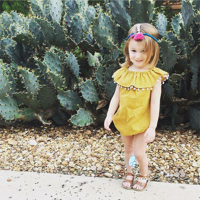 e3610ab104c0 Summer Ruffle Collar Baby Girls Fashion Pompom Yellow Romper Outfit ...