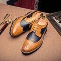 Oxfords de los hombres de Moda Casual Zapatos de Los Planos de Los Hombres Transpirable Vestido de Oficina Masculino Brogue Zapatos Chaussures