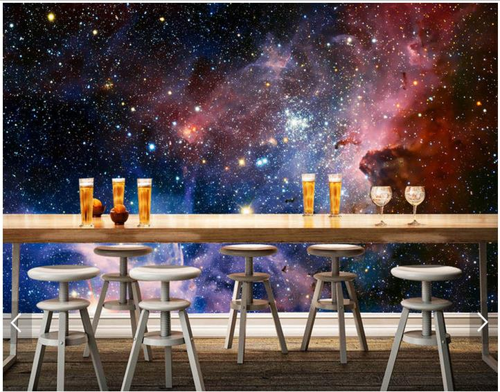 Custom Photo Wallpaper Wall Murals 3 D Cool Dreamy Purple Cloud Sky Bar Setting Universe Room In Wallpapers From Home