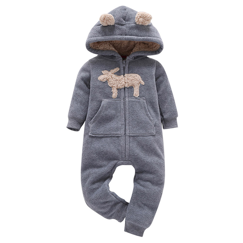 Hot Sale Infant Baby Boys Girls Thick Winter Wool Jumpsuit Cute Sheep Ears Hooded Romper Jumpsuits Outfit Kids Clothes