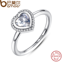 BAMOER 2016 Spring Collection 925 Sterling Silver Sparkling Love Heart Ring Compatible With BME Jewelry PA7135