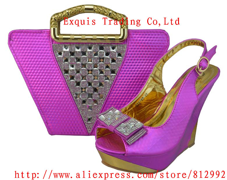 ФОТО fuchsia open toe style women pumps,5.0 inch high heel italian shoes and matching bag for party/wedding,free shipping,1308-42