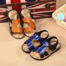 Summer Boys Button Beach Shoes Sandals For Babies Leather Casual Shoes Breathable Children's Sandals Outwear Footwear