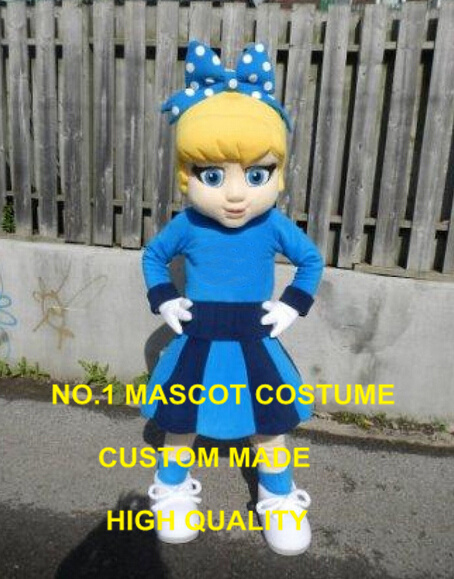 Blue DRESS Cutie Cheer Leader Mascot Costume custommizable Cartoon little girl Theme Anime Costume Costumes Carnival Fancy 2423