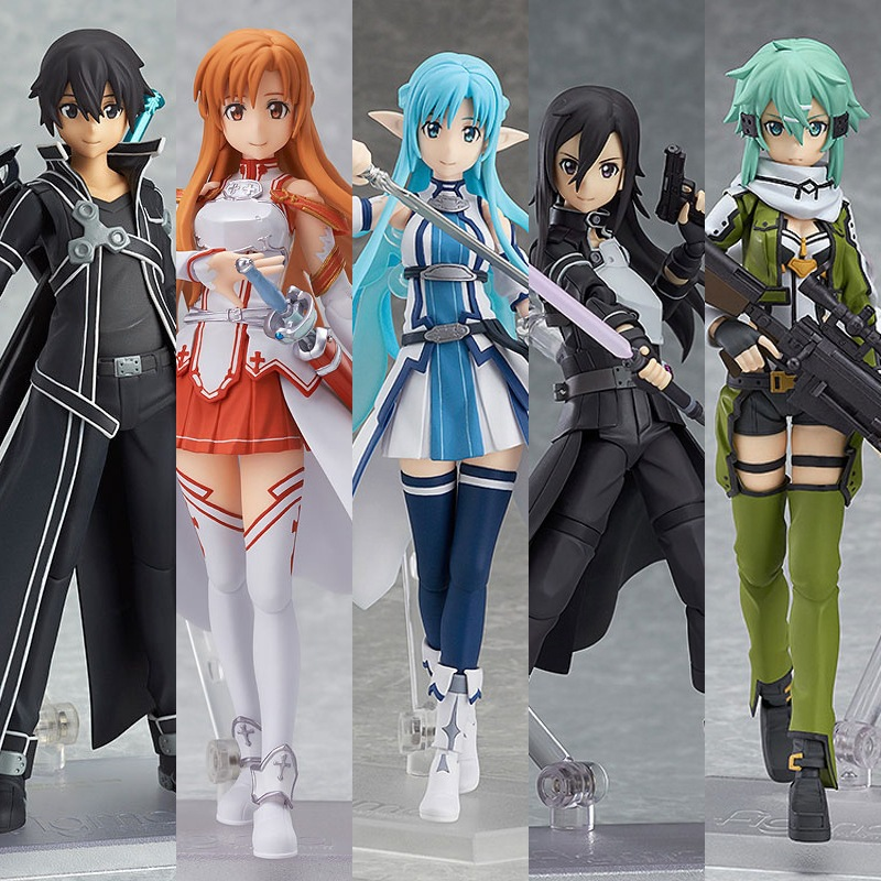 2Pcs//set Sword Art Online SAO Asuna Kirito PVC Action Figure Figma Figurine Toy