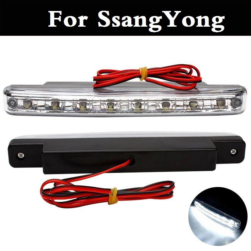 New Car Styling DRL Waterproof ABS 12V LED Daytime Running Light For SsangYong Actyon Chairman Korando Kyron Musso Nomad Rexton aosrrun cover the black rain rain shield rain or shine ordinary rain eyebrow for ssangyong korando kyron actyon car accessories