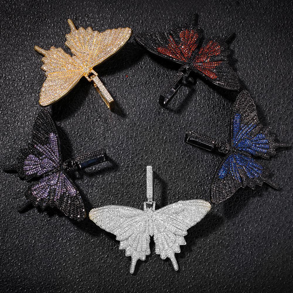 Nouveau Hip Hop bijoux papillon pendentif collier AAA Zircon complet cristal Bling chaîne collier pour femmes hommes livraison directe