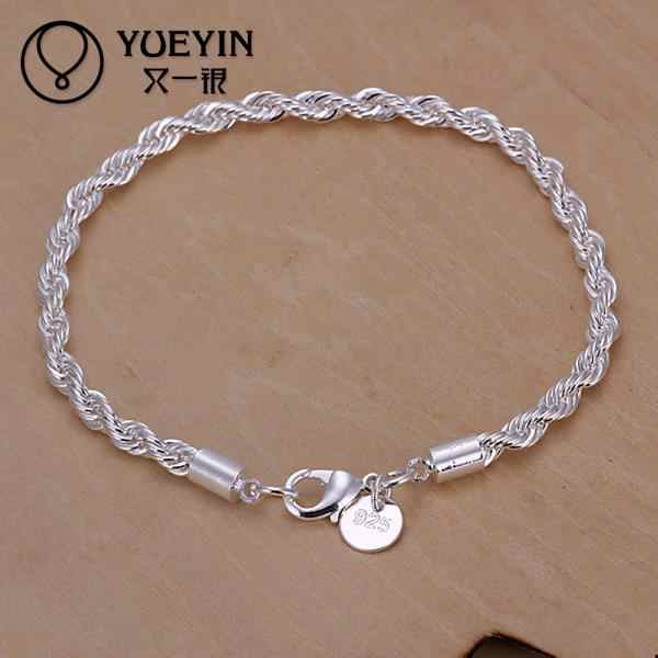 Fashion Style Silver Plated Rope Chain Bracelet & Bangle For Women Chain Charm Beads 20CM