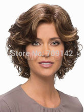 Fashion Brown Curly Heat-resistant Fiber Short Wig Kanekalon hair no lace front wigs fast deliver 26% discount