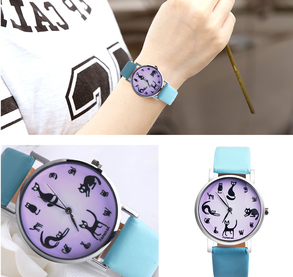 2019 Women's Watches Casual Watches Leather Cute Cat Pattern Leather Watch Women Girls Ladies Quartz Wrist Watches Montre Femme