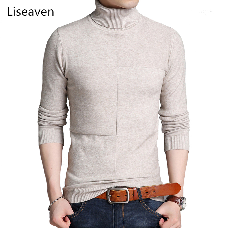 Liseaven Turtleneck Sweaters For Men Winter Clothing Slim Fit Pullover Sweaters Knitewear Men's Clothes