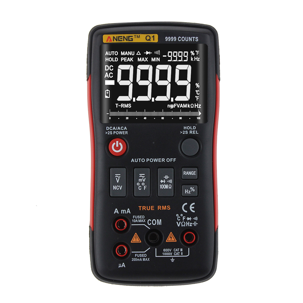 ANENG Q1 True-RMS Digital Multimeter Button 9999 Counts With Analog Bar Graph AC/DC Voltage Ammeter Current Ohm Auto/ManualANENG Q1 True-RMS Digital Multimeter Button 9999 Counts With Analog Bar Graph AC/DC Voltage Ammeter Current Ohm Auto/Manual