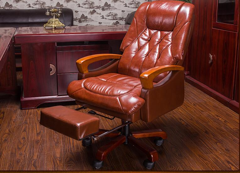Home computer chair. Can lie up and down boss chair. Real leather swivel chair fixed armrest leather art office chair.23 240320 home office can lie down high density inflatable sponge 360 degrees can be rotated computer chair boss massage chair