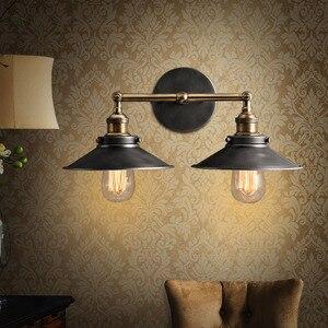 Image 3 - 現代ヴィンテージロフト金属ダブルヘッドウォールライトレトロ真鍮壁ランプカントリースタイル E27 エジソン燭台ランプ器具 110 ボルト/220 ボルト