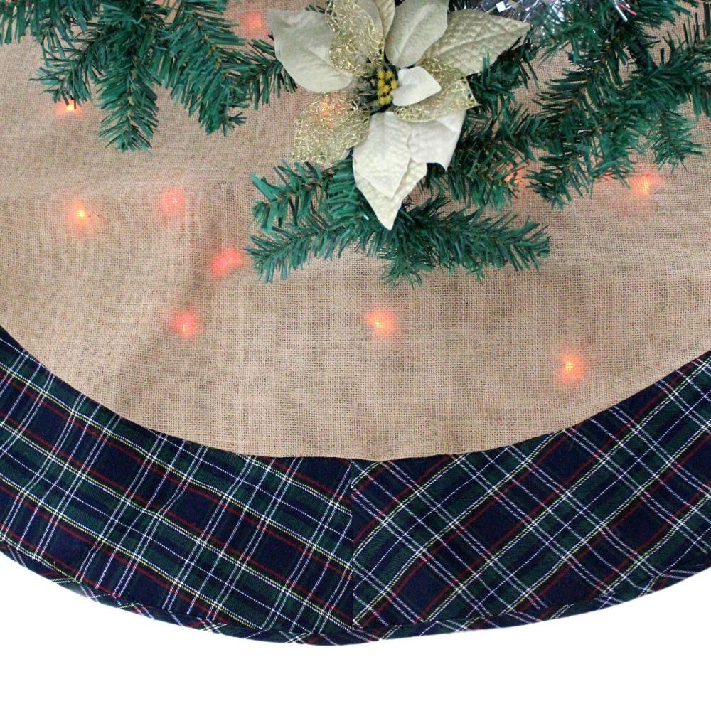"""Linen Christmas Tree Skirt: SORRENTO 50"""" Jutte/Linen With Green Plaid Border TWINKLE"""