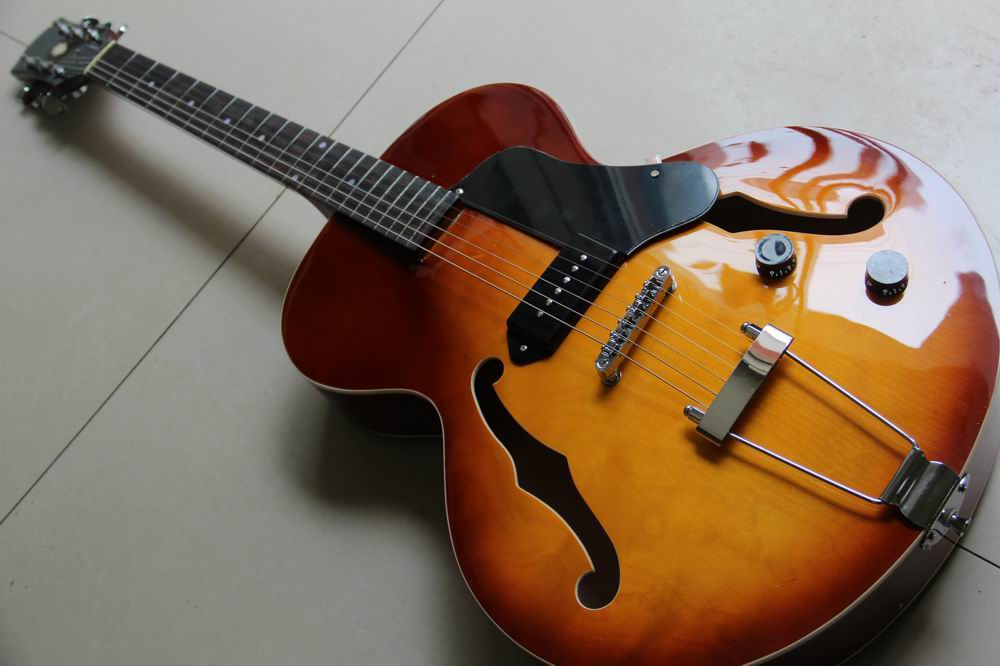 New Arrival New Triggs Custom Archtop Electric Guitar Hollow Electric guitar with one P90 pick ups in sunburst sunset 130128 brand new smt yamaha feeder ft 8 2mm feeder used in pick and place machine
