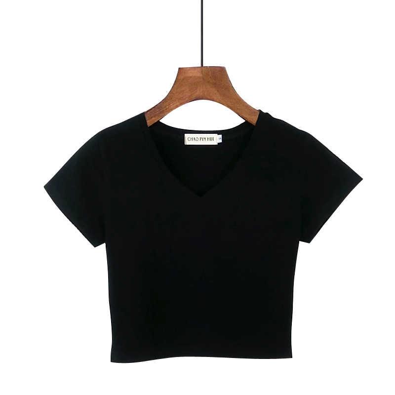 65110db46f8 ... 2019 New Sexy Women Summer Short Design V-neck Cotton T Shirt Female  Slim High