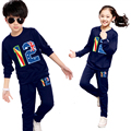 A set of boys and girls sports suit 2017 Spring and Autumn new children's two-piece suit for 3-12 years old