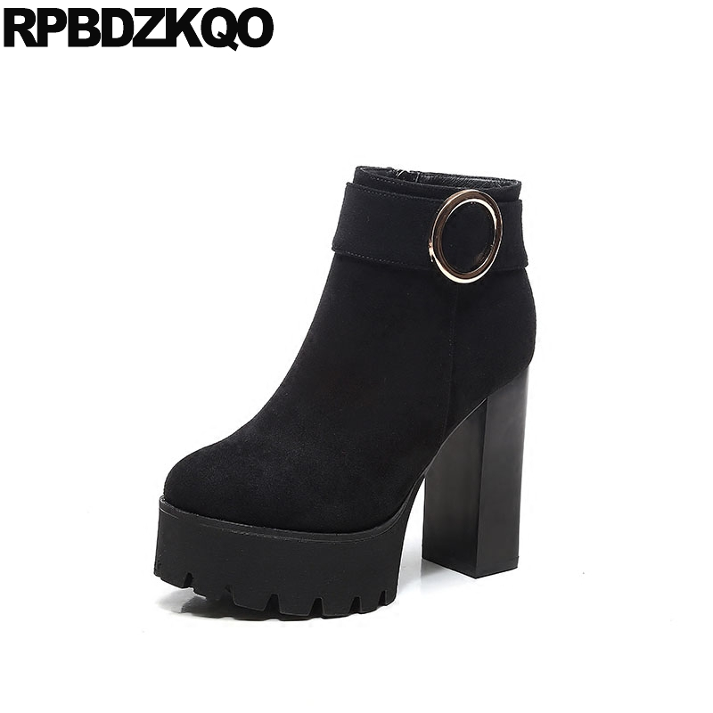 Shoes Zipper Chunky Extreme Metal Size 34 Ladies Fashion Side Zip Boots Sexy Suede Ankle Booties High Heel Fur Black European womens high boots vogue side zipper botas invierno mujer fashion buckle block chunky heel sapatos mulher suede size us 4 10 5