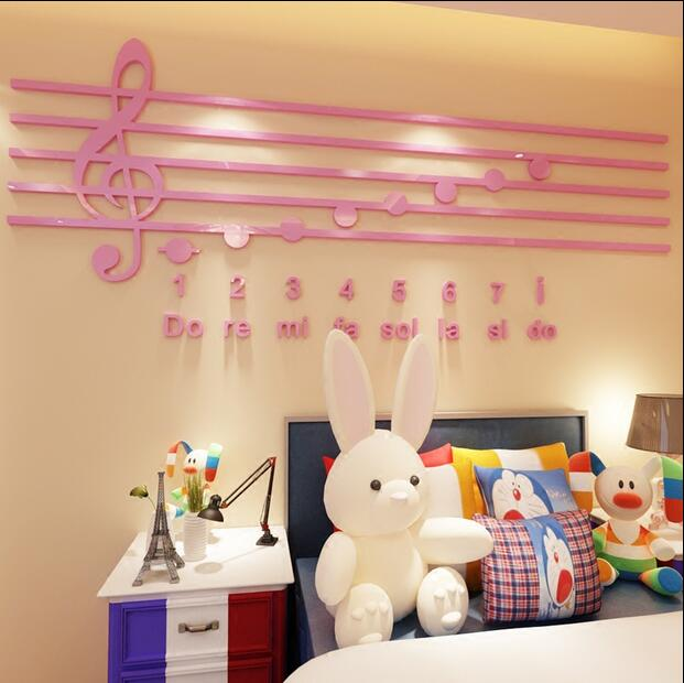 Piano Notes Acrylic 3D wall stickers Music classroom Decoration Interest Training Class Music Background Wall Stickers