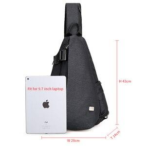 Image 2 - Mark Ryden nouveautés USB Design haute capacité poitrine sac hommes Crossbody sac costume pour 9.7 pouce Pad hydrofuge sac à bandoulière