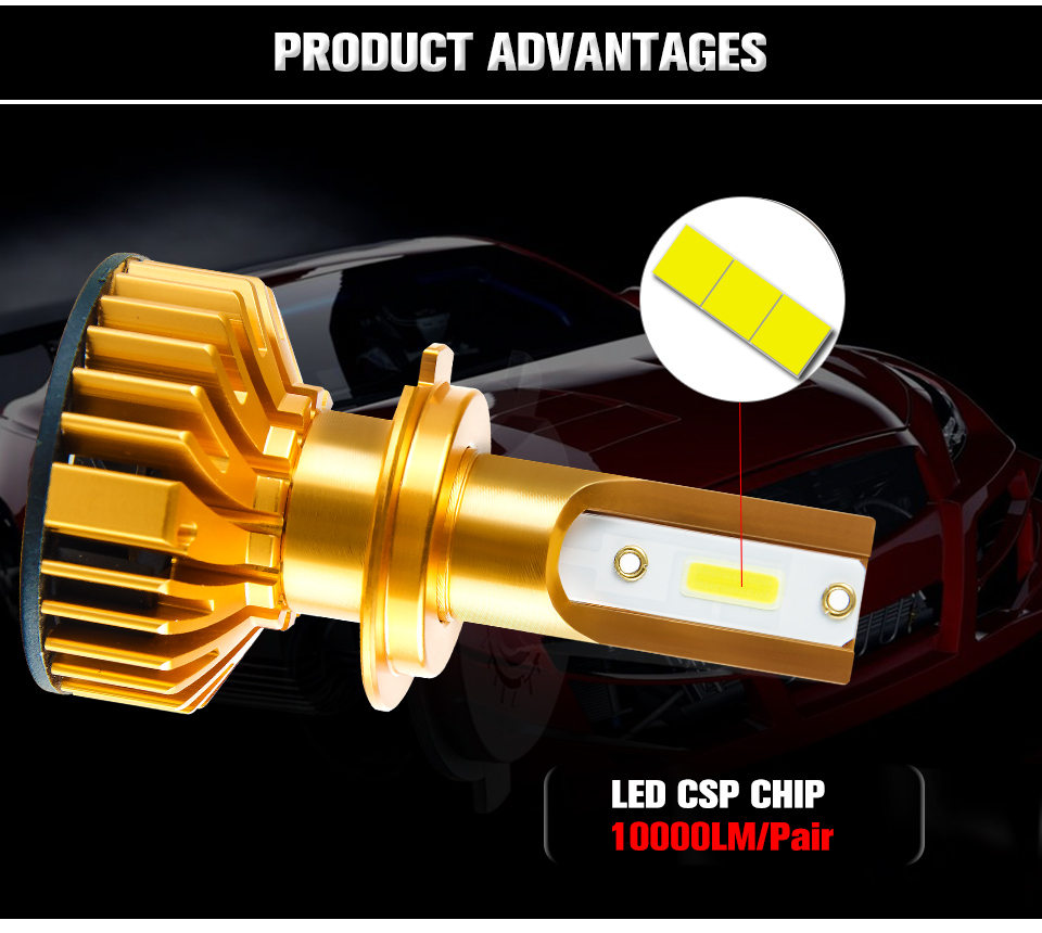 Foxcnsun 2PCS H7 LED H4 Car headlight H1 H3 H11 H7 9005 9006 72W 10000lm Auto Hi Lo Beam H8 H9 HB4 HB3 6500K CANBUS DOB Chip 12V (4)