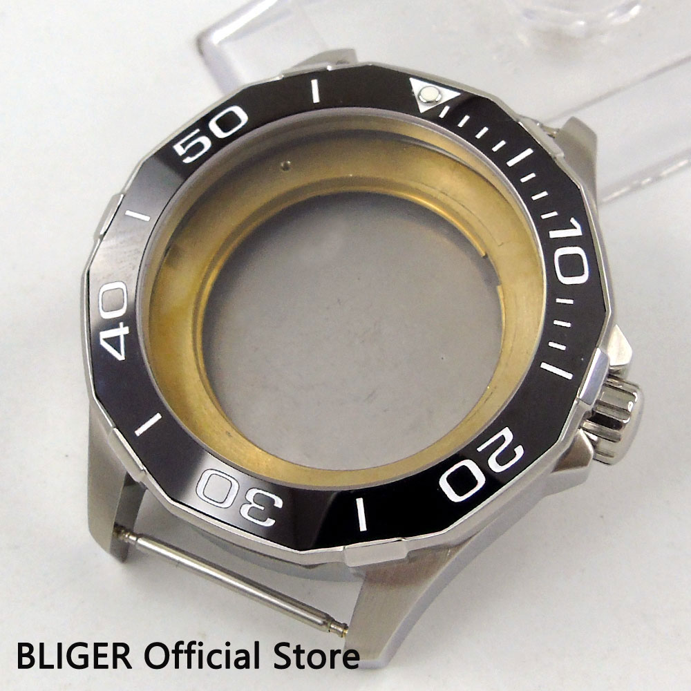 Polygon 45MM Black Ceramic Bezel Sapphire Glass Stainless Steel Watch Case Fit For ETA 2836 Miyota 8215 821A Movement C7Polygon 45MM Black Ceramic Bezel Sapphire Glass Stainless Steel Watch Case Fit For ETA 2836 Miyota 8215 821A Movement C7