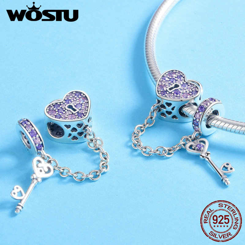 Wostu 925 Sterling Zilveren Sleutel Van Hart Lock Crystal Cz Ketting Kralen Bedels Fit Armband & Armband Vrouwen Mode-sieraden FIC772