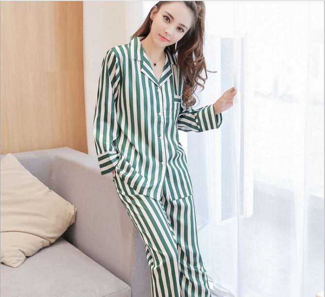Fdfklak Ladies Pyjamas Faux Silk Spring Autumn Long Sleeve Striped Pijama  Mujer Satin Pajama Sets Womens Nightwear Set Q498-in Pajama Sets from  Underwear ... 771af6338