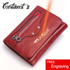 Free Engrave Trifold Unisex Wallet Red Black Short Wallets Genuine Leather Small Coin Purses Organizer Card