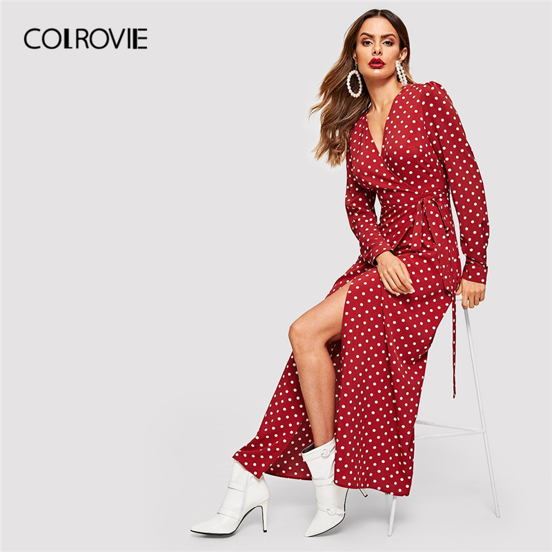 COLROVIE Burgundy Dot Wrap Knot Maxi Dress 181114401