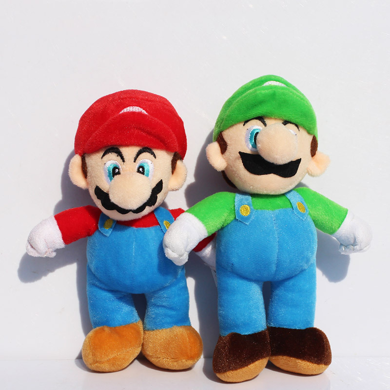 2pcs/lot 1025cm Super Mario Bros MARIO & LUIGI Plush Doll Stuffed Toy Free Shipping 9 23cm super mario bros grey brick plush toy soft stuffed doll 1pcs pack