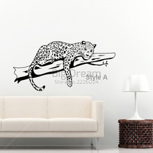цена на Leopard wall sticker home decor Vinyl Afrika Animal Wall Decal house decoration cartoon removable Free shipping