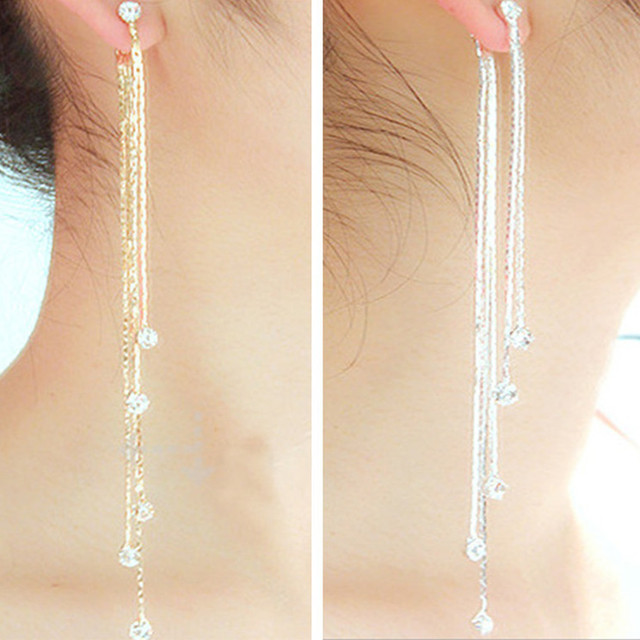 d10a25e4fcc8 Nueva moda 5 de la cadena de oro de plata largo pendientes de borla para  mujeres