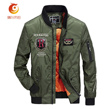 2017 Mens Jacket Autumn New Air Uniform Jacket Casual Thick Embroidery Decoration Solid Warm Windproof Parkas Coat  Size 3XL